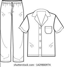 pajama sleepwear vector isolated template illustration
