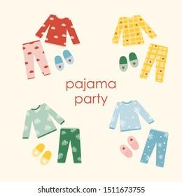 pajamas collection, pajama party, vector illustration
