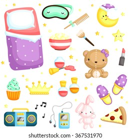Pajamas Party Items Vector Set