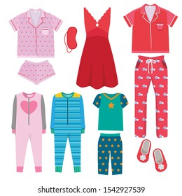 Pajamas. Textile night clothes for kids and parents sleepwear bedtime pajamas vector colored pictures