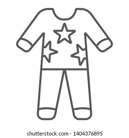 Pajamas thin line icon, clothes and nightwear, pyjama sign, vector graphics, a linear pattern on a white background, eps 10.