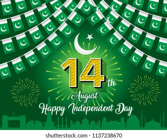 Pakistan 14th August Bunting Wallpaper, Vector Illustation