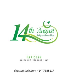 Pakistan 14th August Independence Day Logo with Abstract Lines - Vector Illustration