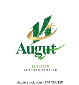 Pakistan 14th August Logo with Golden Crescent and Star - Vector Illustration