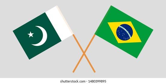 Pakistan and Brazil. Crossed Pakistani and Brazilian flags