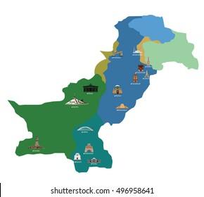 pakistan buildings on map