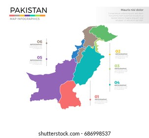 Pakistan country map infographic colored vector template with regions and pointer marks
