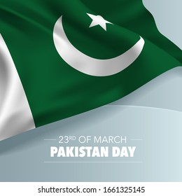 Pakistan day greeting card, banner, vector illustration. Pakistani national day 23rd of March background with elements of flag, square format