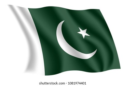 Pakistan flag. Isolated national flag of Pakistan. Waving flag of the Islamic Republic of Pakistan. Fluttering textile pakistani ensign. Flag of the Crescent and Star.