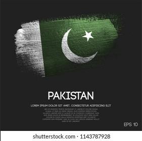 Pakistan Flag Made of Glitter Sparkle Brush Paint Vector