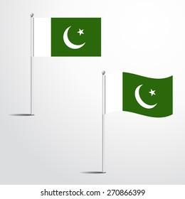 Pakistan flag normal and waving flag set | abstract flag vector eps 10