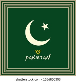 Pakistan Flag's symbol of a White crescent moon and a five-rayed star on a dark green field inside square art frame - Vector