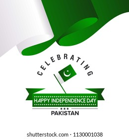 Pakistan Independence day, 14th august. Vector typographic backg