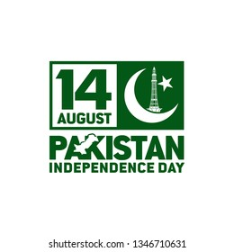 Pakistan Independence Day. 14th August . Crescent Star. Template Image. Map. Vector Illustration. Eps 08.