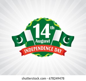 Pakistan Independence day, 14th August. Vector typographic emblems with Gray Background, logo or badge