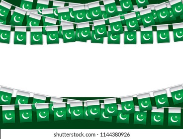 Pakistan Independence day banner with flags bunting. Vector illustration