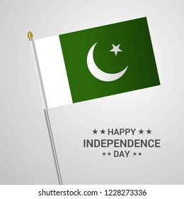 Pakistan Independence day typographic design with flag vector