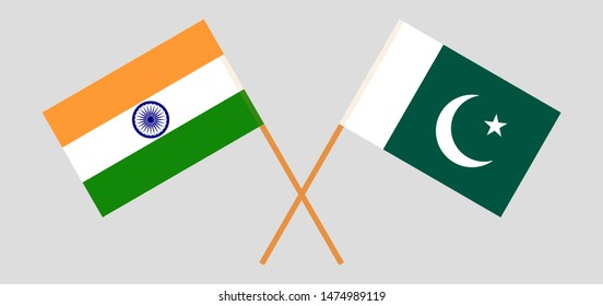 Pakistan and India. Crossed Pakistani and Indian flags