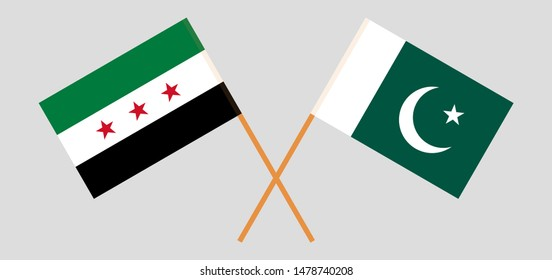 Pakistan and Interim Government of Syria. Crossed Pakistani and Coalition flags