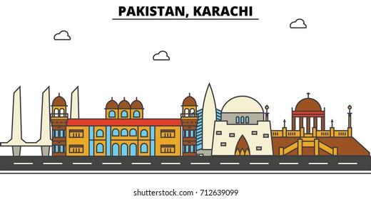 Pakistan, Karachi. City skyline: architecture, buildings, streets, silhouette, landscape, panorama, landmarks. Editable strokes. Flat design line vector illustration concept. Isolated icons set