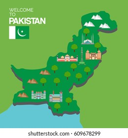 Pakistan landmarks and travel map  vector illustration