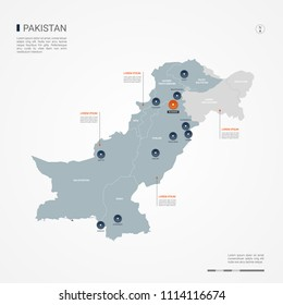 Pakistan map with borders, cities, capital Islamabad and administrative divisions. Infographic vector map. Editable layers clearly labeled.