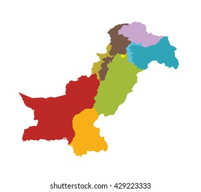 Pakistan map identifying different provinces and states