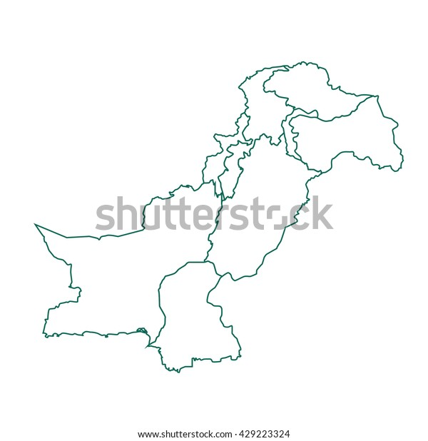 Pakistan Map Outline Stock Vector (Royalty Free) 429223324