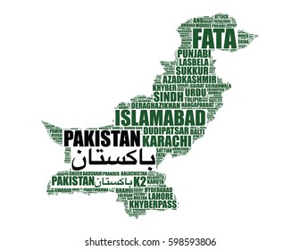 Pakistan map vector silhouette tag cloud