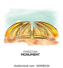 Pakistan Monument hand drawn watercolor sketch.vector illustration