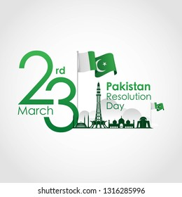 Pakistan Resolution Day, 23rd of March, with creative design vector illustration