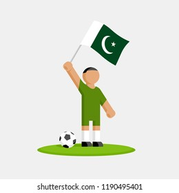 Pakistan soccer player in kit with flag and ball