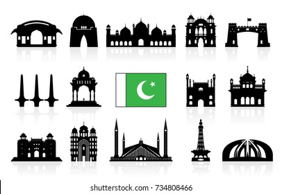 Pakistan Travel Landmarks icon set. Vector and Illustration