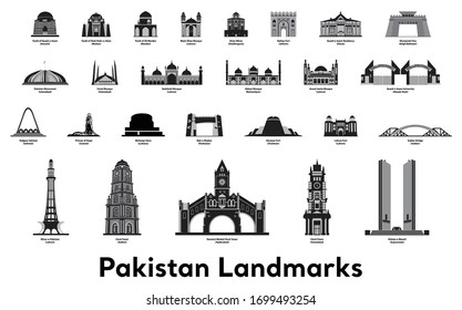Pakistan Travel Landmarks. Pakistan skyline vector and illustration