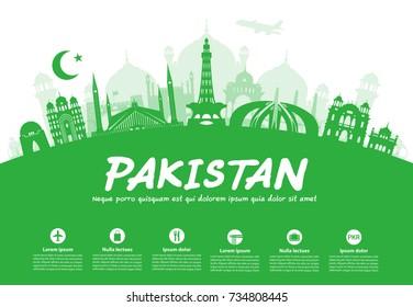 Pakistan Travel Landmarks. Vector and Illustration