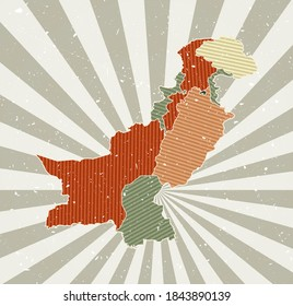 Pakistan vintage map. Grunge poster with map of the country in retro color palette. Shape of Pakistan with sunburst rays background. Vector illustration.