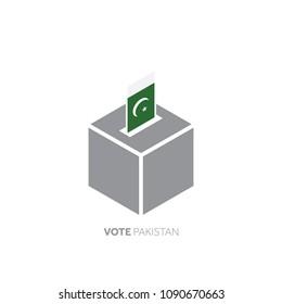 Pakistan voting concept. National flag and ballot box.