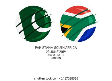 Pakistan vs South Africa, 2019 Cricket Match, Vector illustration