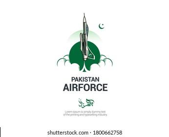 Pakistan written in Urdu Calligraphy. Pakistan air force logo template. Vector illustration.