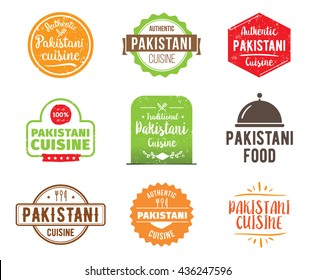 Pakistani cuisine, authentic Pakistani traditional food typographic design set. Vector logo, label, tag or badge for restaurant and menu. Pakistani cuisine isolated.