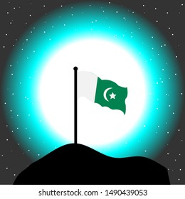 Pakistani flag with moon at background