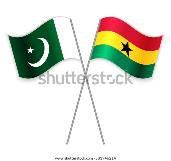 Pakistani and Ghanaian crossed flags. Pakistan combined with Ghana isolated on white. Language learning, international business or travel concept.