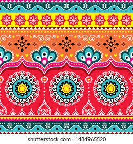 Pakistani or Indian truck art design, Jingle trucks seamless vector pattern, colorful floral repetitive decoration.  Colorful happy repetitive Diwali background inspired by traditional lorry art