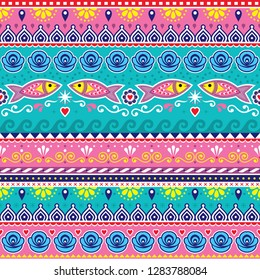 Pakistani or Indian truck art vector seamless pattern, decorative truck floral design with flowers, fish and abstract shapes. Pink and turquoise repetitive background inspired by traditional lorry