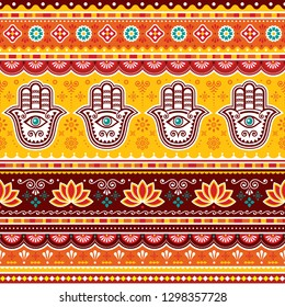 Pakistani or Indian truck art vector seamless pattern with Hamsa hands, decorative truck floral design with flowers and abstract shapes. Yellow, red and brown repetitive background with evil eye