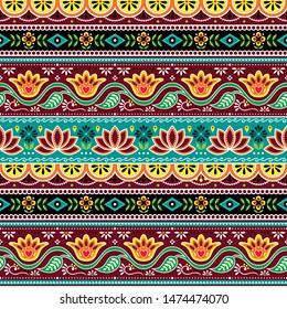Pakistani or Indian truck art vector seamless pattern, Indian truck floral design with flowers, leaves and abstract shapes in brown, orange and green.   Colorful happy repetitive background inspired