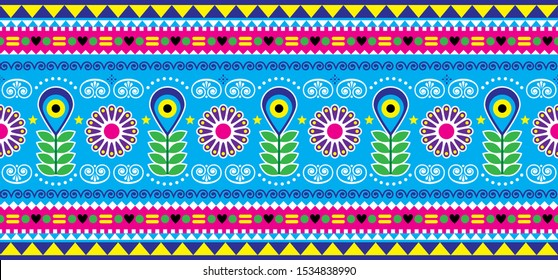 Pakistani or Indian truck art vector seamless long pattern, decorative floral ornament, blue and pink design with flowers, leaves and abstract shapes. Colorful happy repetitive textile or wallpaper