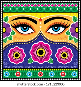 Pakistani or Indian truck art vector pattern, with female eyes, flowers, leaves and abstract shapes. Colorful happy repetitive design with woman's face inspired by traditional lorry and rickshaw art