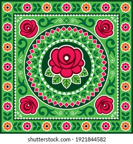 Pakistani and Indian truck art vector design with roses, floral motif mandala, Diwali vibrant pattern. Colorful floral ornament inspired by traditional lorry and rickshaw art from India and Pakistan