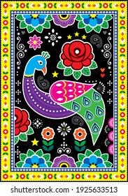 Pakistani and Indian truck art vector design with peacoks roses, decorative floral vibrant poster pattern. Colorful floral ornament with a bird inspired by traditional lorry and rickshaw art